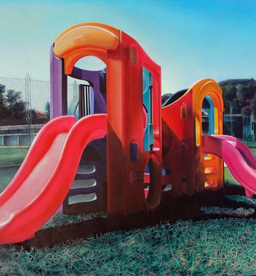 Luca Suelzu, Playground, 2003-2004, olio su tela, 150x130, Courtesy dell'artista